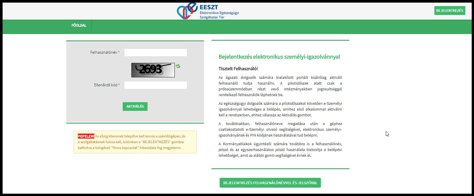 Hibaüzenetek listája, amik az EESZT felhasználók aktiválása közben jelentkezhet