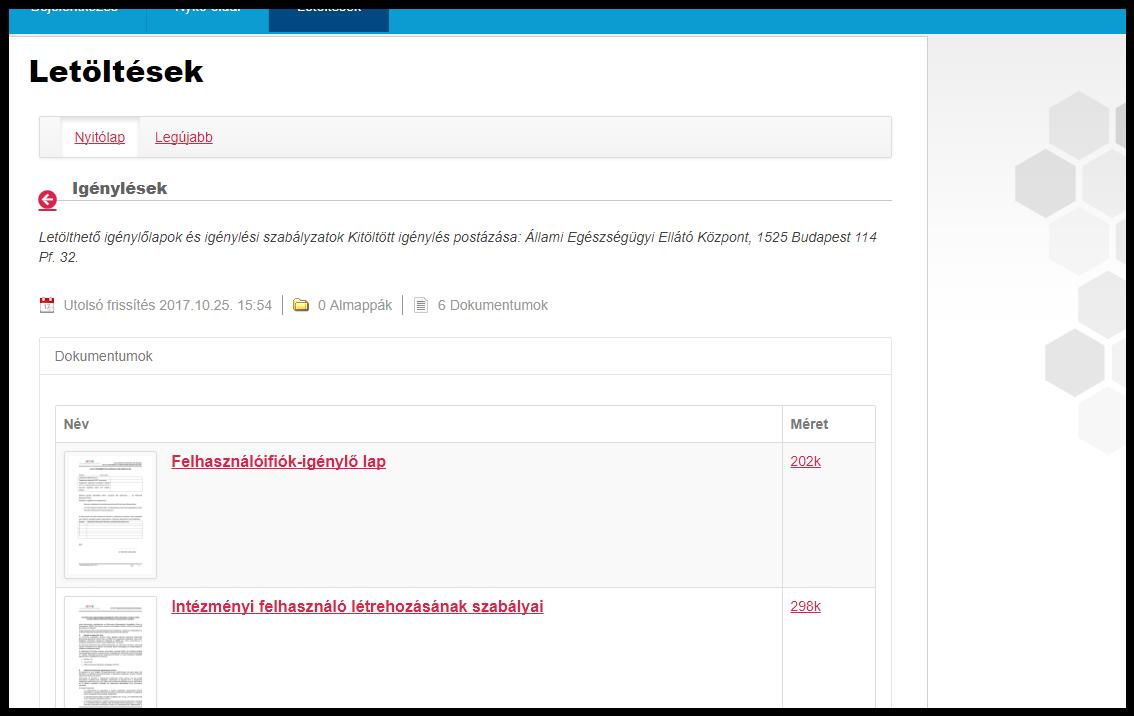 Letölthető igénylőlapok az EESZT oldaláról