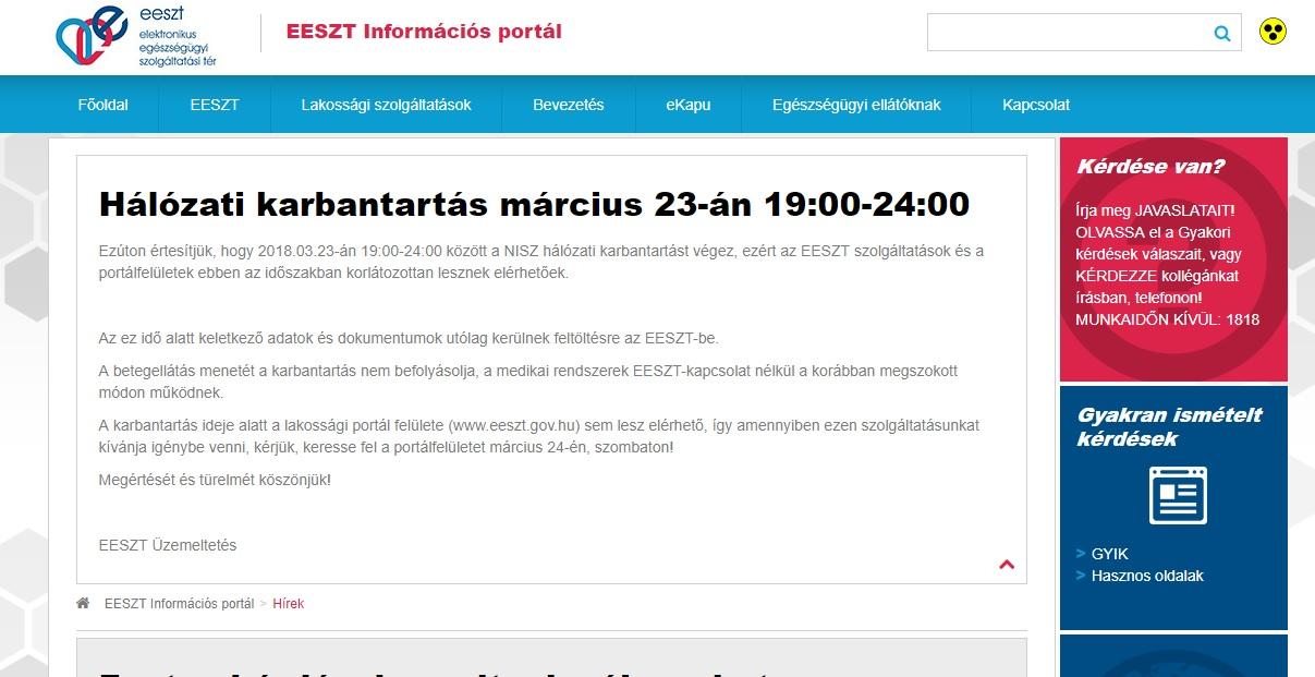 EESZT hálózati karbantartás március 23-án 19:00-24:00